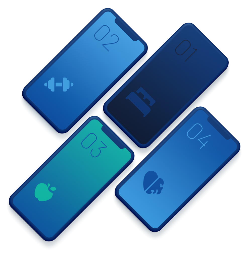 Four phones with the four pillars of health