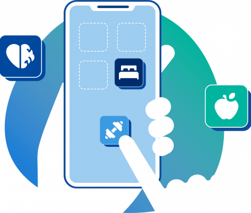 P4 Illustration of Hands with Phone and Health Icons